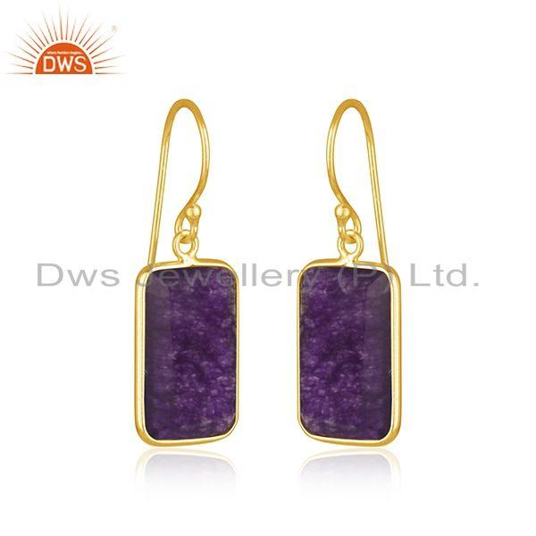 Exporter Amethyst Aventurine Gemstone Gold Plated 925 Silver Earrings Suppiler