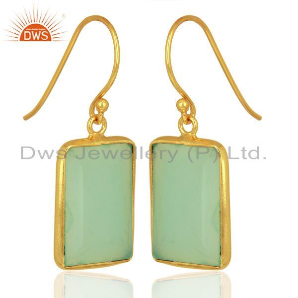Exporter Aqua Chalcedony Gemstone Sterling Silver Gold Plated Earrings Jewelry