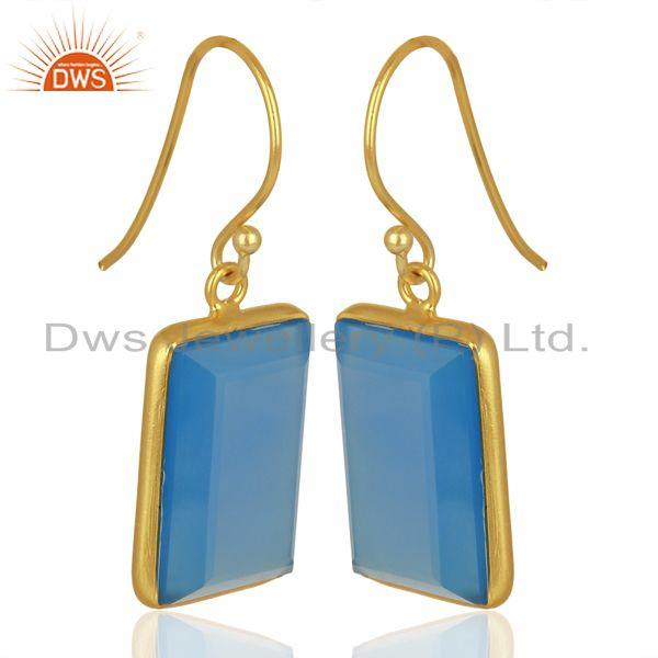 Exporter Blue Chalcedony Gemstone Gold Plated Silver Womens Earrings