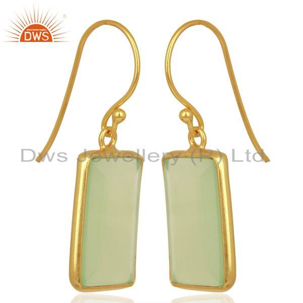 Exporter Prehnite Chalcedony Handcrafted Artisan Gold Plated Drop Wholesale Jewelry
