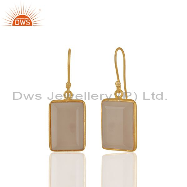 Exporter Rose Chalcedony Gemstone 925 silver Stud Earrings Manufacturers