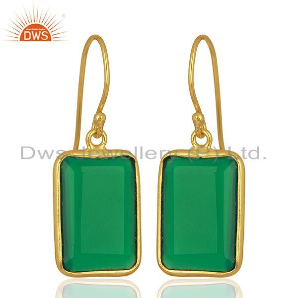 Exporter Natural Green Onyx Gemstone Gold Plated 925 Silver Earrings Supplier