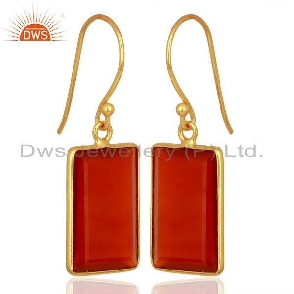Exporter Red Onyx Handcrafted Artisan Gold Plated Drop Wholesale Jewelry