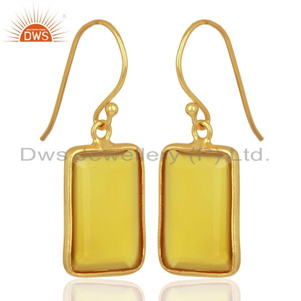 Exporter Yellow Chalcedony Handcrafted Artisan Gold Plated Drop Wholesale Jewelry