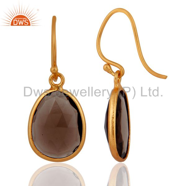 Exporter Faceted Smoky Quartz Plated Gold Sterling Silver Latching Earrings Gift Jewelry