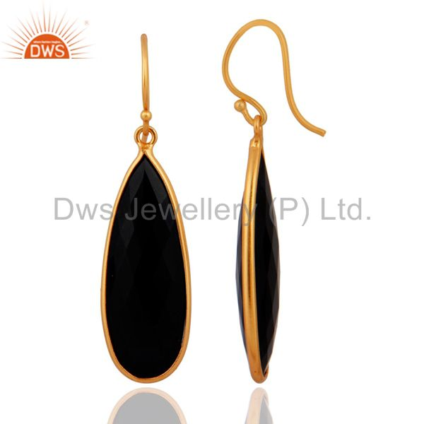 Exporter Gold Plated 925 Sterling Silver Black Onyx Gemstone Women Fashion Dangle Earring
