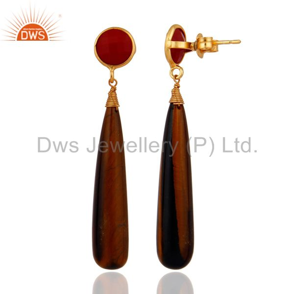 Exporter Genuine Coral & Tiger Eye Teardrop Gemstone Earrings in 18k Gold On 925 Silver