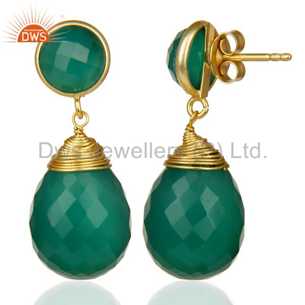Exporter Faceted Gemstone Green Onyx Briolette Gold Plated Sterling Silver Drop Earrings