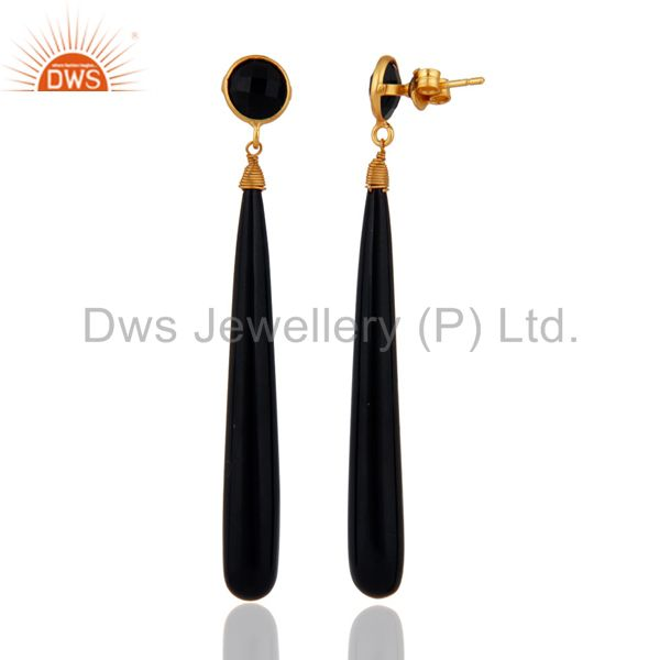 Exporter Handmade Natural Black Onyx Tear Drop 925 Sterling Silver Gold Plated Earrings