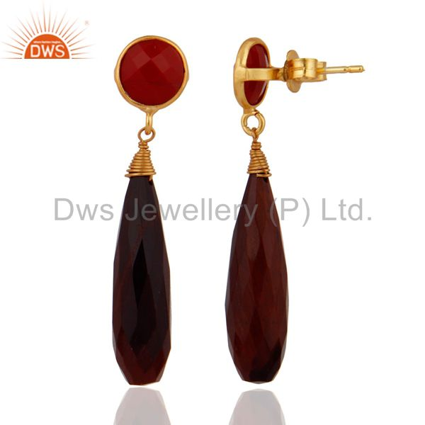 Exporter Yellow Gold Plated 925 Sterling SIlver Tiger Eye & Coral Drop Dangle Earrings