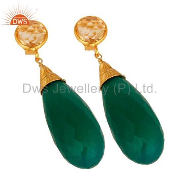 Exporter Natural Green Onyx Gemstone Sterling Silver Wire Wrapped Briolette Drop Earrings