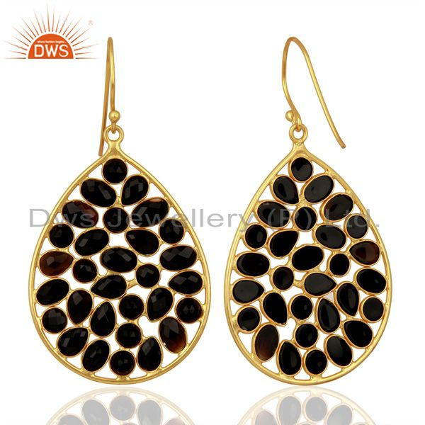 Exporter 14K Yellow Gold Plated Sterling Silver Black Onyx Designer Drop Earrings
