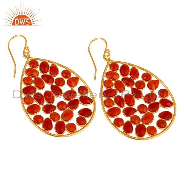 Exporter 14K Yellow Gold Plated Sterling Silver Red Onyx Designer Drop Dangle Earrings