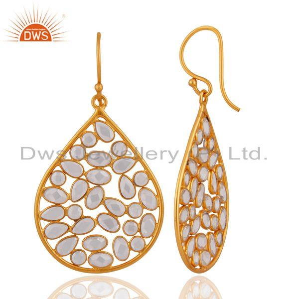 Exporter 18K Yellow Gold Plated Sterling Silver Cubic Zirconia Fashion Dangle Earrings