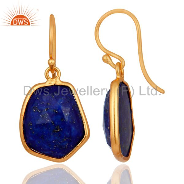 Exporter 925 Sterlinng Silver Natural Lapis Lazuli Earring With Gold Plated Jewelry