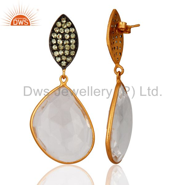 Exporter 18kt. Gold Plated Sterling Silver Clear Quartz Crystal & Peridot Dangle Earring