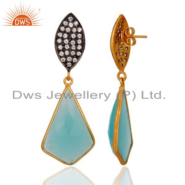 Suppliers 18k Gold Over Sterling Silver Handcrafted Glass Aqua CZ-Set Drop Post Earrings