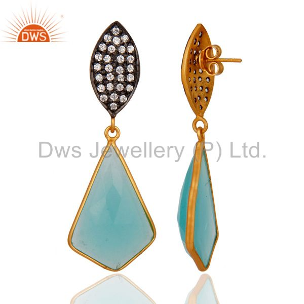Exporter 18k Gold Over Sterling Silver Handcrafted Glass Aqua CZ-Set Drop Post Earrings