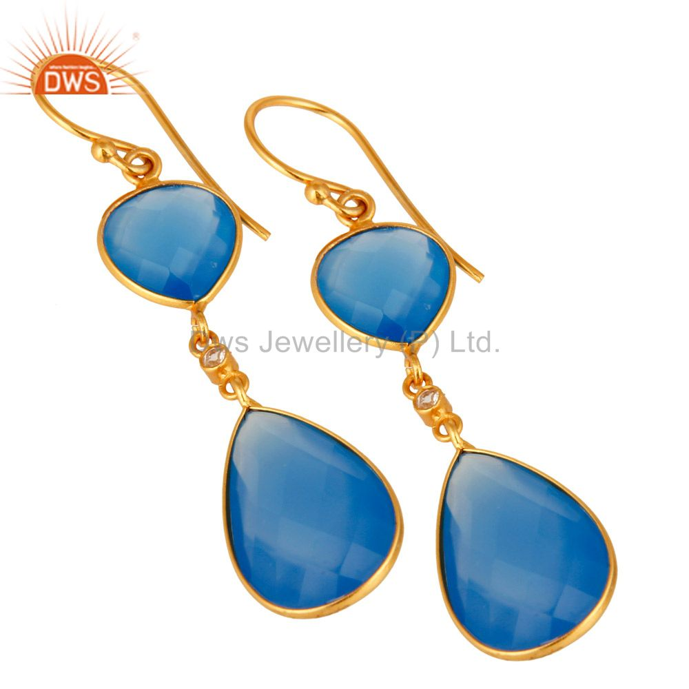 Exporter Faceted Blue Chalcedony Gemstone 925 Sterling Silver Earrings With Gold Plated