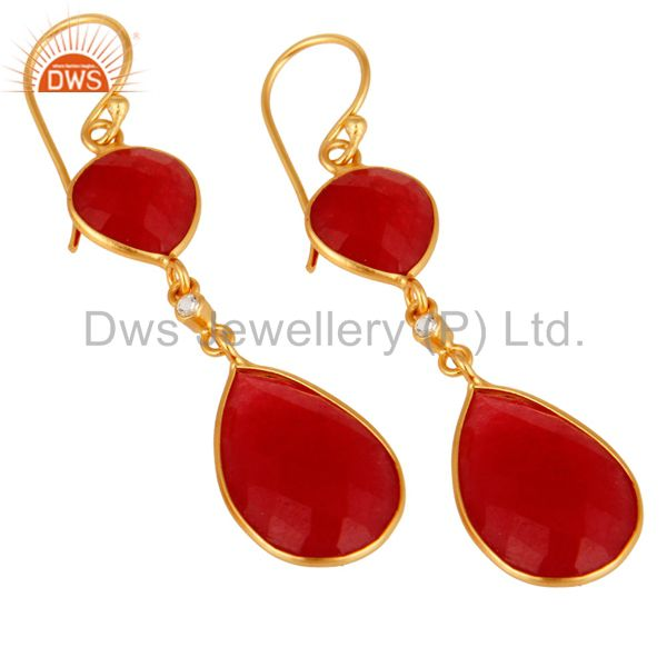 Exporter 22K Gold Plated Sterling Silver Handmade Red Aventurine Bezel Dangle Earrings