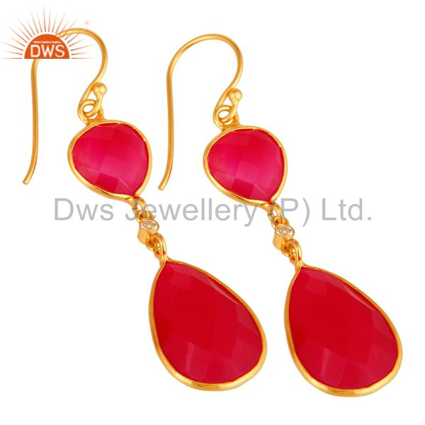 Exporter Pink Chalcedony Faceted Bezel-Set Gold Plated Sterling Silver Drop Earrings