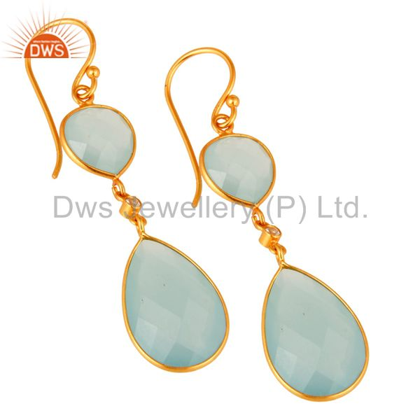 Exporter Artisan-Crafted Sterling Silver Gold Plated Dyed Blue Chalcedony Drop Earrings
