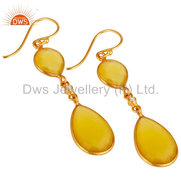 Exporter 18K Gold Plated Sterling Silver Yellow Moonstone Double Drop Dangle Earrings