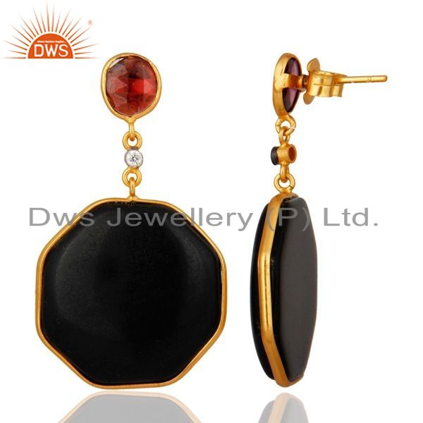 Exporter 18 K Gold Over 925 Sterling Silver Hexagon Black Onyx Dangle Earrings