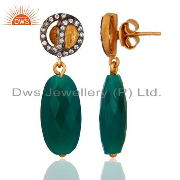 Exporter Natural Green Onyx Faceted Drop Dangle 925 Sterling Silver Earrings