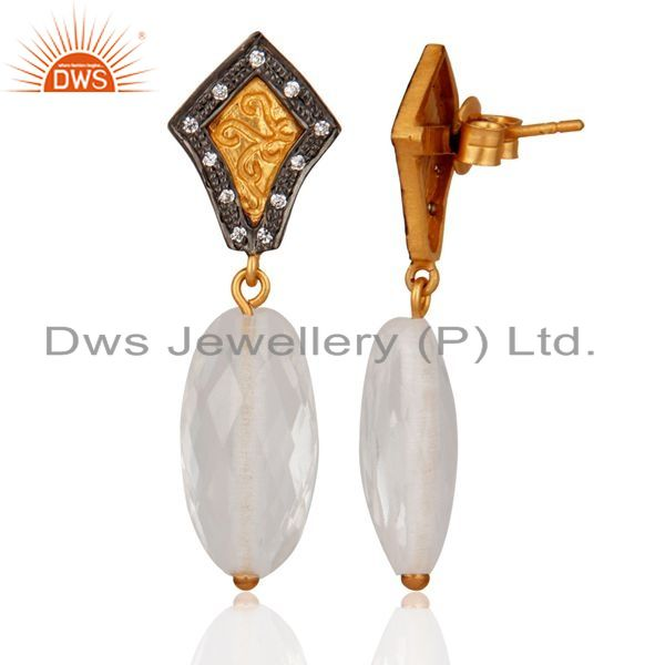 Exporter Gold Plated 925 Sterling Silver Crystal Quartz & White Zircon Fashion Women Earr