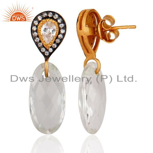 Exporter Crystal Quartz Checker Cut 925 Sterling Silver Gold Plated CZ Ladies Earrings