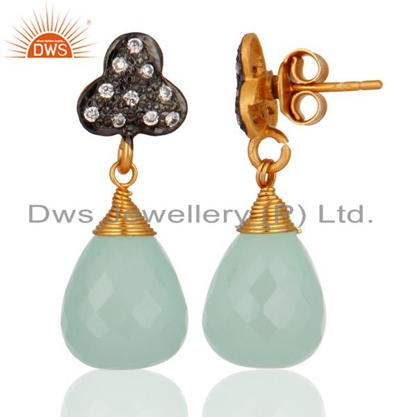 Exporter Natural Chalcedony Gemstone 925 Sterling Silver Drop Dangle Earrings With White