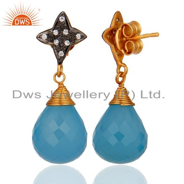 Exporter Gold Plated 925 Sterling Silver Genuine Aqua Blue Chalcedony Earrings