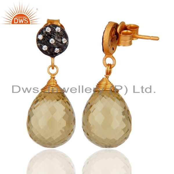 Exporter 14K Gold Plated 925 Sterling Silver Lemon Topaz & White Zirconia Drops Earrings