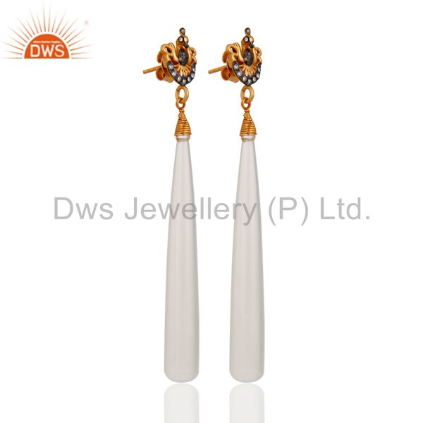 Exporter Sterling Silver 925 White Chalcedony Gemstone Smooth Drop Dangle Earrings