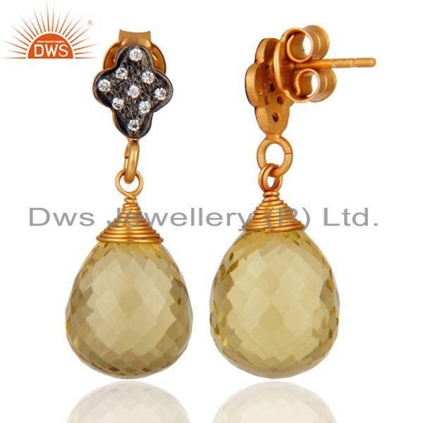 Exporter Gorgeous Gold Plated 925 Sterling Silver Lemon Topaz Briolette Earrings