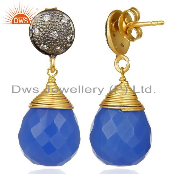 Exporter 18K Gold Plated 925 Sterling Silver Dyed Blue Chalcedony CZ Drops Earrings