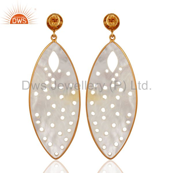 Exporter 18k Gold On Sterling Silver Natural Mother of Pearl Carved Bezel Dangle Earring