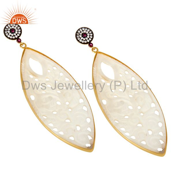 Exporter 18K Yellow Gold Plated Sterling Silver Carved Mother Of Pearl Dangle Earrings