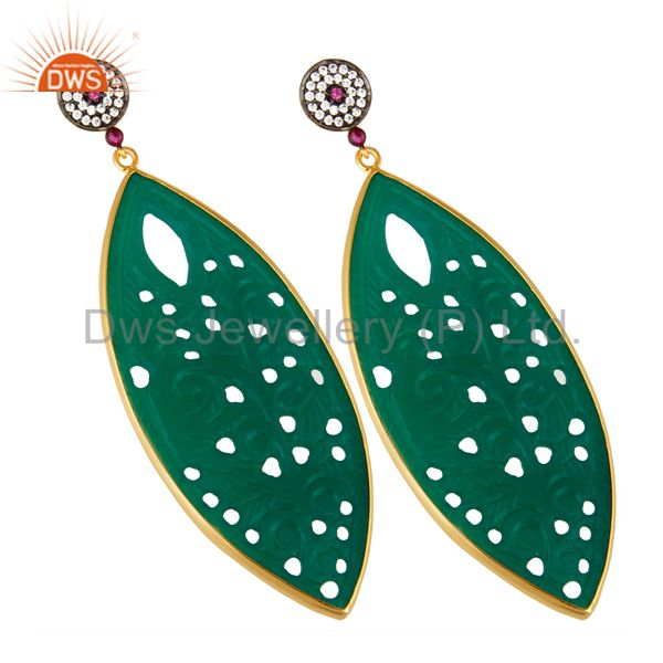 Exporter 14K Yellow Gold Plated Sterling Silver Carved Green Onyx Dangle Earrings With CZ