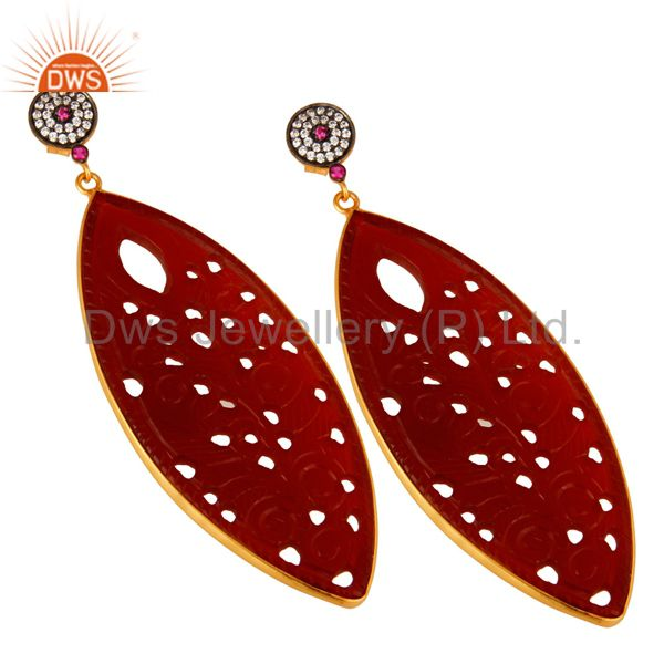 Exporter 18K Gold On Silver CZ And Red Onyx Gemstone Carving Bezel Set Dangle Earrings