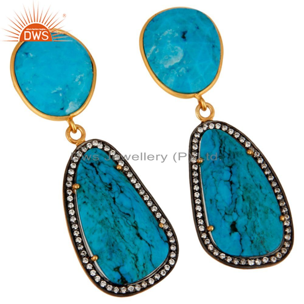 Exporter 18K Gold Plated Solid Sterling Silver Turquoise & White Zircon Beautiful Earring