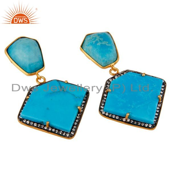 Exporter Cultured Turquoise Cubic Zirconia 18K Gold Plated 925 Sterling Silver Earrings