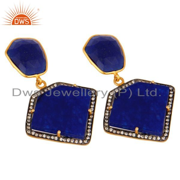 Exporter Blue Aventurine And Cubic Zirconia 18K Gold Plated 925 Sterling Silver Earrings