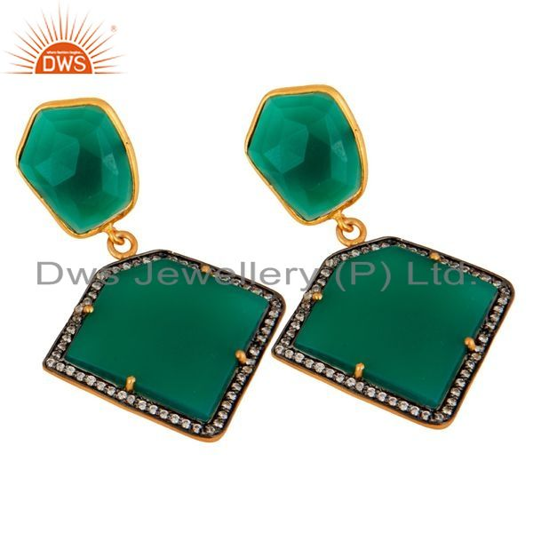 Exporter 18K Gold Plated Sterling Silver Green Onyx Gemstone Earring With White Zircon