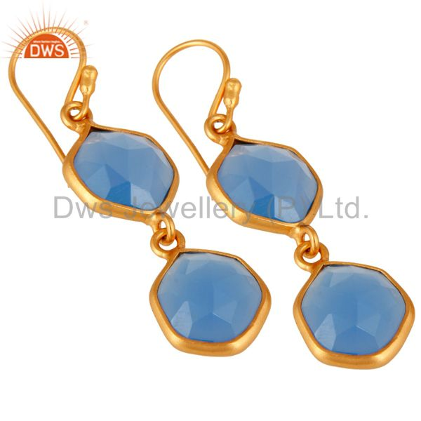 Exporter Blue Chalcedony Gemstone Designer Earrings In 22K Gold On Sterling Silver