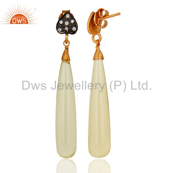 Exporter 18K Yellow Gold Plated Sterling Silver Lemon Topaz Dangle Earrings With CZ
