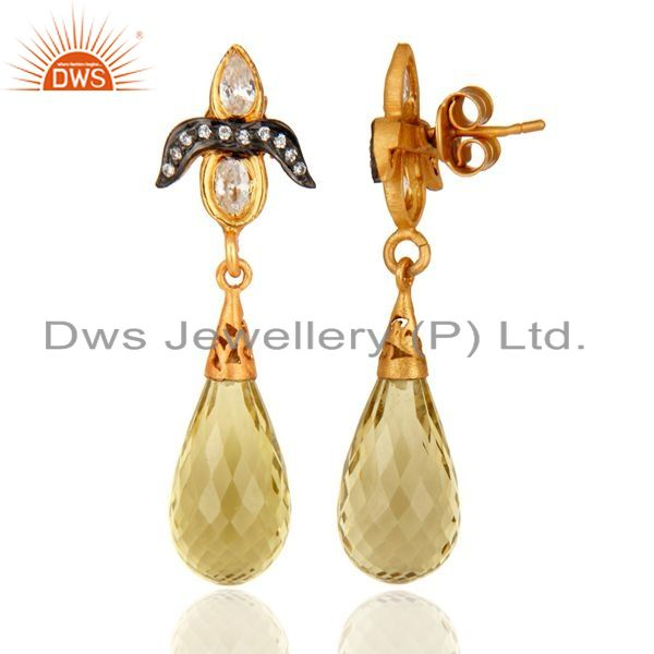 Exporter Lemon Topaz and White Zircon 18K Gold On Sterling Silver Gemstone Drop Earrings