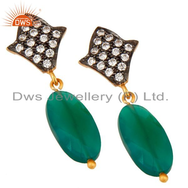Exporter Handmade 925 Sterling Silver Green Onyx & 24K Gold Plated Drop Earrings With CZ