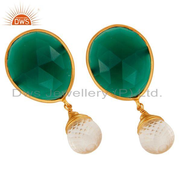 Exporter 22K Yellow Gold Plated Sterling Silver Green Onyx & Crystal Quartz Drop Earrings